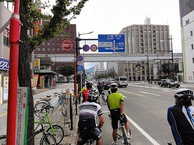 サイクルツアー北九州2013 小倉市街 信号待ちの渋滞