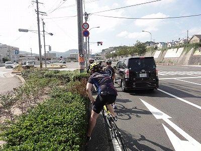 サイクルツアー北九州2013 門司港レトロ~北九州空港間 信号待ち